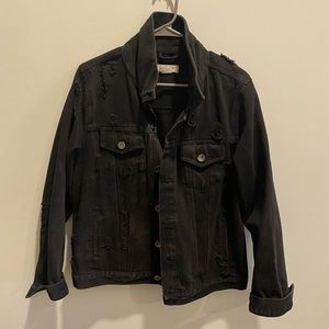 distressed denim oversized jacket